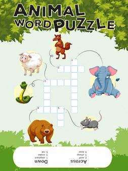 Kruiswoordpuzzel met veel dieren Premium Vector