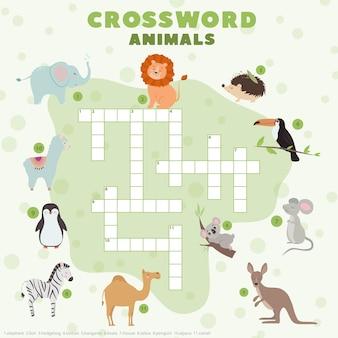 Kruiswoordpuzzel voor kinderen met schattige dieren educatieve spelletjes voor kinderen