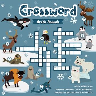 Kruiswoordpuzzelspel van arctische dieren