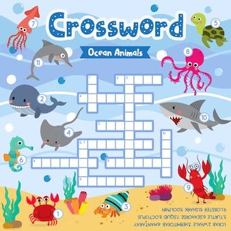 Kruiswoordpuzzelspel van oceaan dieren