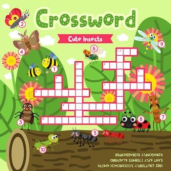 Kruiswoordpuzzelspel van schattige insecteninsecten
