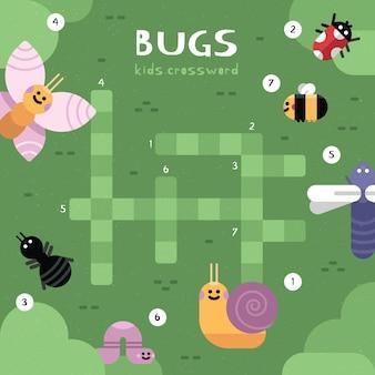 Kruiswoordraadsel in het engels voor kinderen met insecten