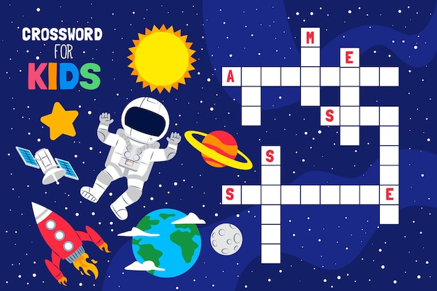 Kruiswoordraadsel in het engels voor kinderen met ruimte-elementen