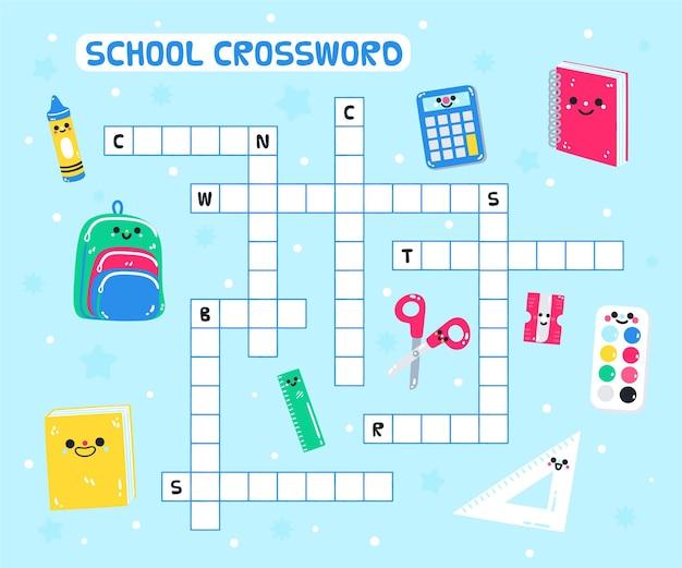 Kruiswoordraadsel in het engels voor kinderen van de kleuterschool