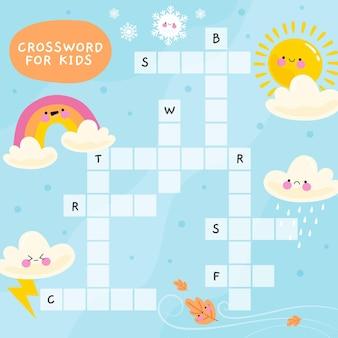 Kruiswoordraadsel in het engels voor kinderen