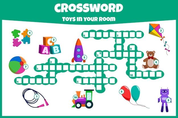 Kruiswoordraadsel met speelgoed. educatief spel voor kinderen.