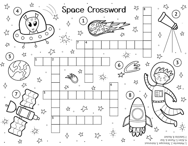 Kruiswoordraadsel voor kinderen met schattige ruimtekarakters zwart-witruimte-activiteitenpagina voor kinderen