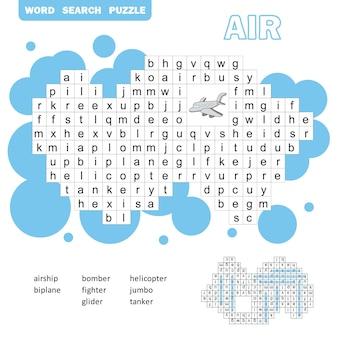 Kruiswoordraadsel voor luchtvervoer. zoekwoordenspel met antwoord voor kinderen. platte vectorillustratie