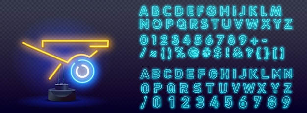Kruiwagen blauw gloeiend neon ui ux pictogram.