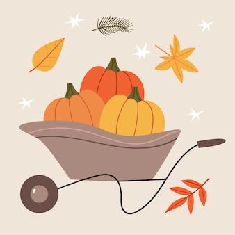 Kruiwagen met kleurrijke pompoenen herfstoogst voorbereiding voor halloween herfststemming