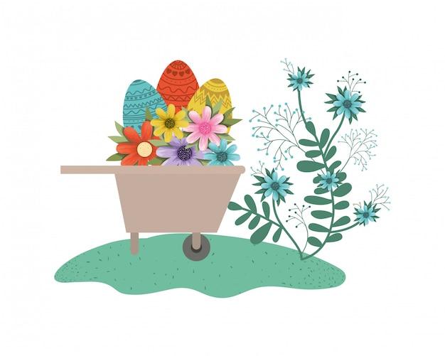 Kruiwagen met pasen eieren geïsoleerde pictogram