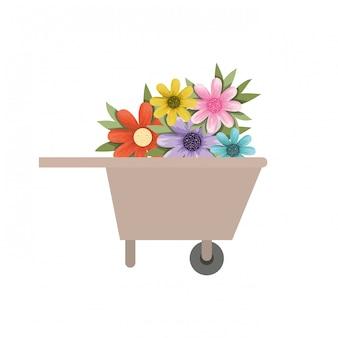 Kruiwagen van houten met bloemen pictogram