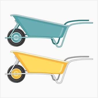 Kruiwagenset voor tuinieren Premium Vector