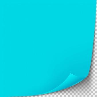 Krul hoek blauwe papieren sjabloon. transparant raster. lege geïsoleerde achtergrondpagina