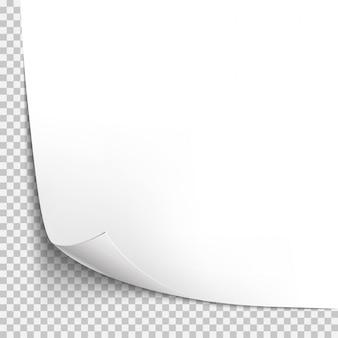 Krul hoek papieren sjabloon. transparant raster. lege geïsoleerde achtergrondpagina
