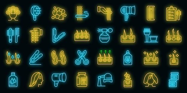 Krullend haar pictogrammen instellen vector neon