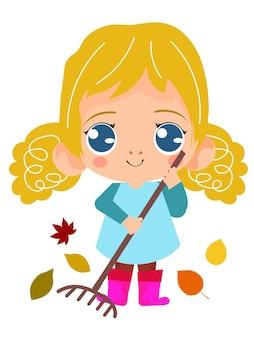 Krullend tuinmanmeisje dat een pot bloem houdt