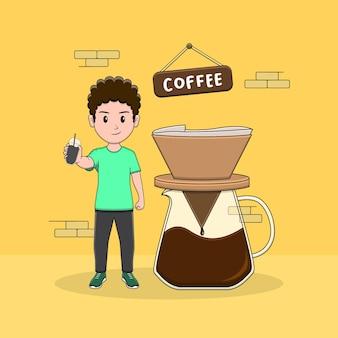Krullende man met koffie en v60