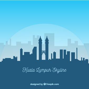Kuala lumpur skyline silhouet