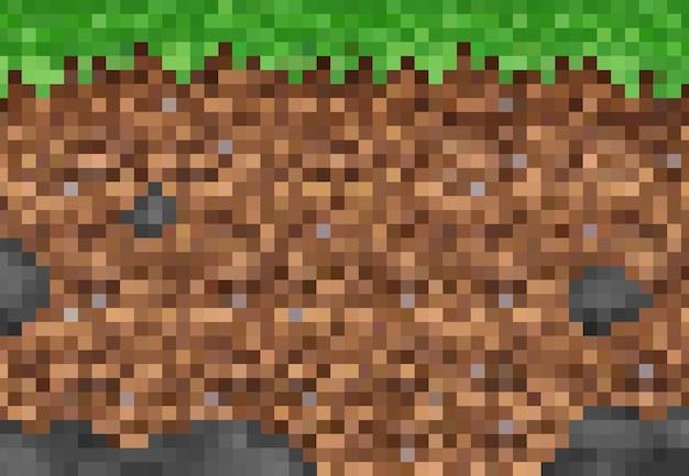 Kubieke pixel gras en grond blokken, vector pixel spel achtergrondpatroon. 8-bits pixelkunstlandschap van mij, ondergrondse en groene grastextuur, 8-bits computerspelniveau-interface