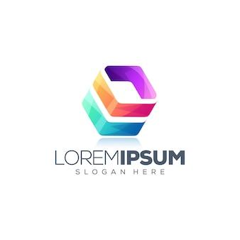 Kubus kleurrijk logo-ontwerp
