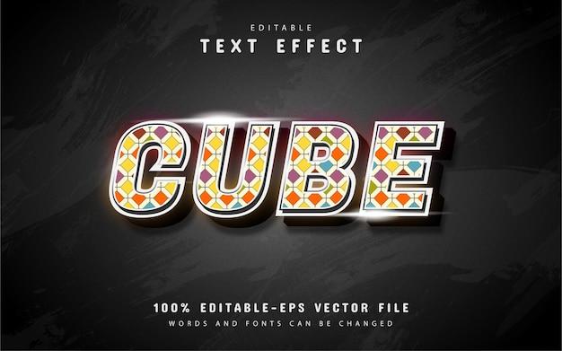 Kubus teksteffect met kleurrijk patroon