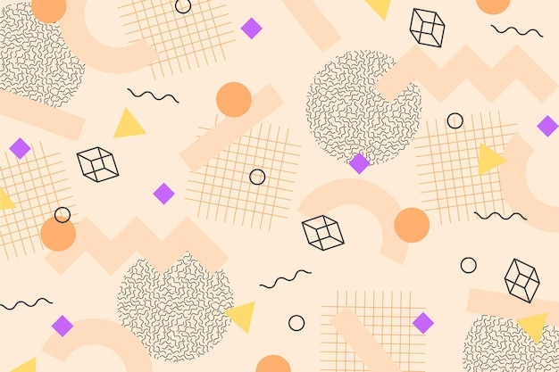 Kubussen en geometrische vormen memphis achtergrond