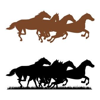 Kudde paarden run over grass meadow
