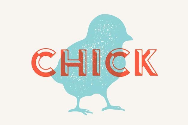 Kuiken, gevogelte. vintage logo, retro print, poster voor slagerij