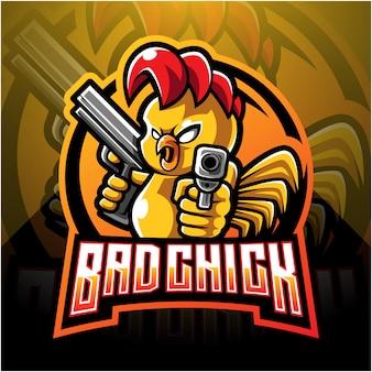 Kuiken met pistool mascotte logo ontwerp