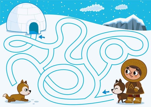 Kun jij de eskimo helpen om zijn iglohuis te vinden vectorillustratie?