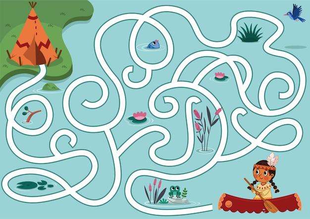 Kun jij het inheemse meisje helpen om het dorp vector puzzelspel voor kinderen doolhofspel te vinden?