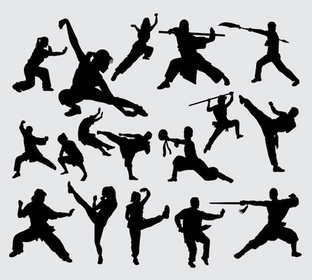 Kungfu krijgskunst silhouet