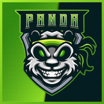 Kungfu panda esport en sport mascotte logo ontwerp
