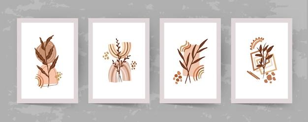 Kunst aan de muur abstracte vormen en bladeren boho moderne minimalistische clipart