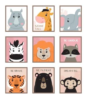 Kunst aan de muur kinderkamer dieren illustratie