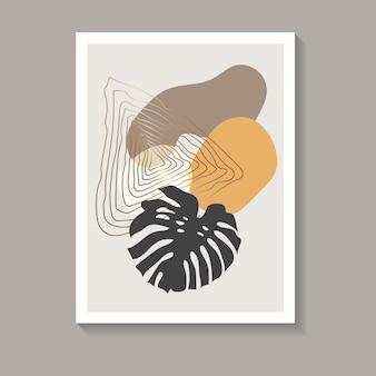 Kunst aan de muur met botanisch tropisch gevoel. abstracte vrije vormenafbeelding in warme en gouden kleuren en donker blad. het beste voor prints, covers en trendy ontwerpen. vector illustratie.