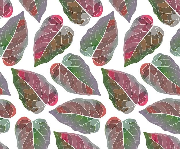 Kunst bloemen naadloos patroon. kleurrijke bladeren die op witte achtergrond worden geïsoleerd. eindeloos patroon met rood en groen blad voor behang, stof, huis- en keukentextiel.