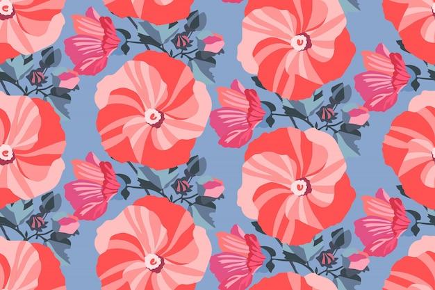 Kunst bloemen naadloos patroon.