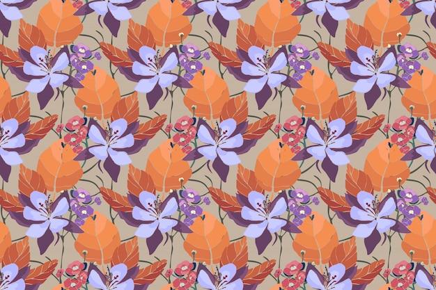 Kunst bloemen vector naadloos patroon. aquilegia, akeleibloemen en hortensia met rufous, roestige bladeren.