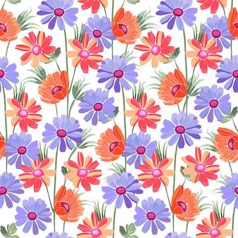 Kunst bloemen vector naadloos patroon. blauwe en rode bloemen. naïeve kunst.