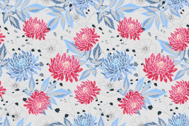 Kunst bloemen vector naadloos patroon. blauwe, roze asters en stokrozen