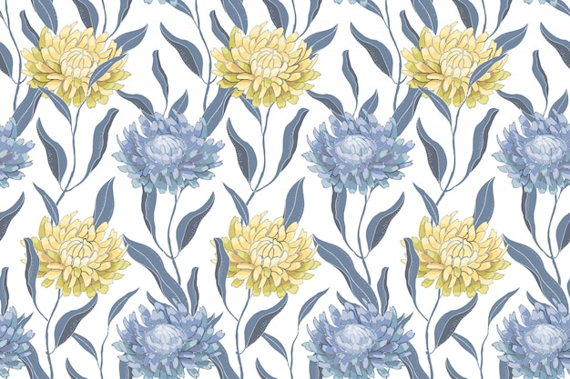 Kunst bloemen vector naadloos patroon met chrysanten. lichtblauwe en gele bloemen en bladeren