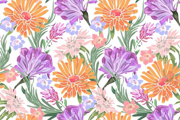 Kunst bloemen vector naadloos patroon. morning glory, ipomoea, lavendel, asters, rozemarijn, chrysanten, gouden madeliefje.