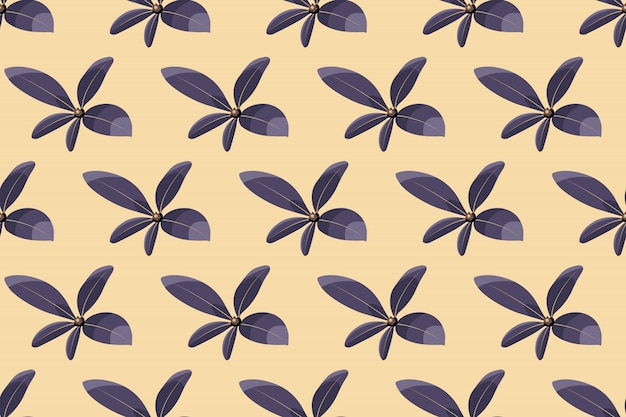 Kunst bloemen vector naadloos patroon. paarse bladeren geïsoleerd op ivoor achtergrond. gevoelig eindeloos patroon voor behang, stof, textiel, digitaal papier.