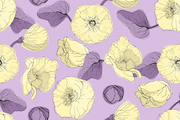 Kunst bloemen vector naadloos patroon