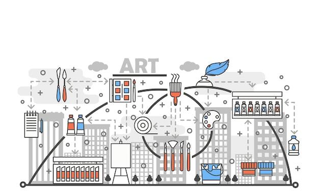 Kunst concept platte lijn kunst illustratie