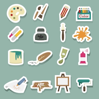 Kunst iconen vector set