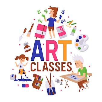 Kunst klassen poster illustratie. meisje en jongens tekenen, schilderen, schetsen met apparatuur. onderwijs, plezier concept.