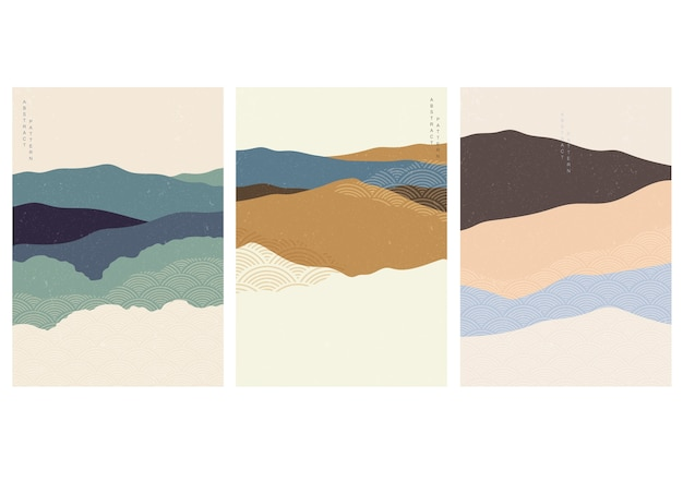 Kunst landschap achtergrond met japanse golfpatroon. abstracte sjabloon met kromme-element. bergbos lay-outontwerp in vintage stijl.